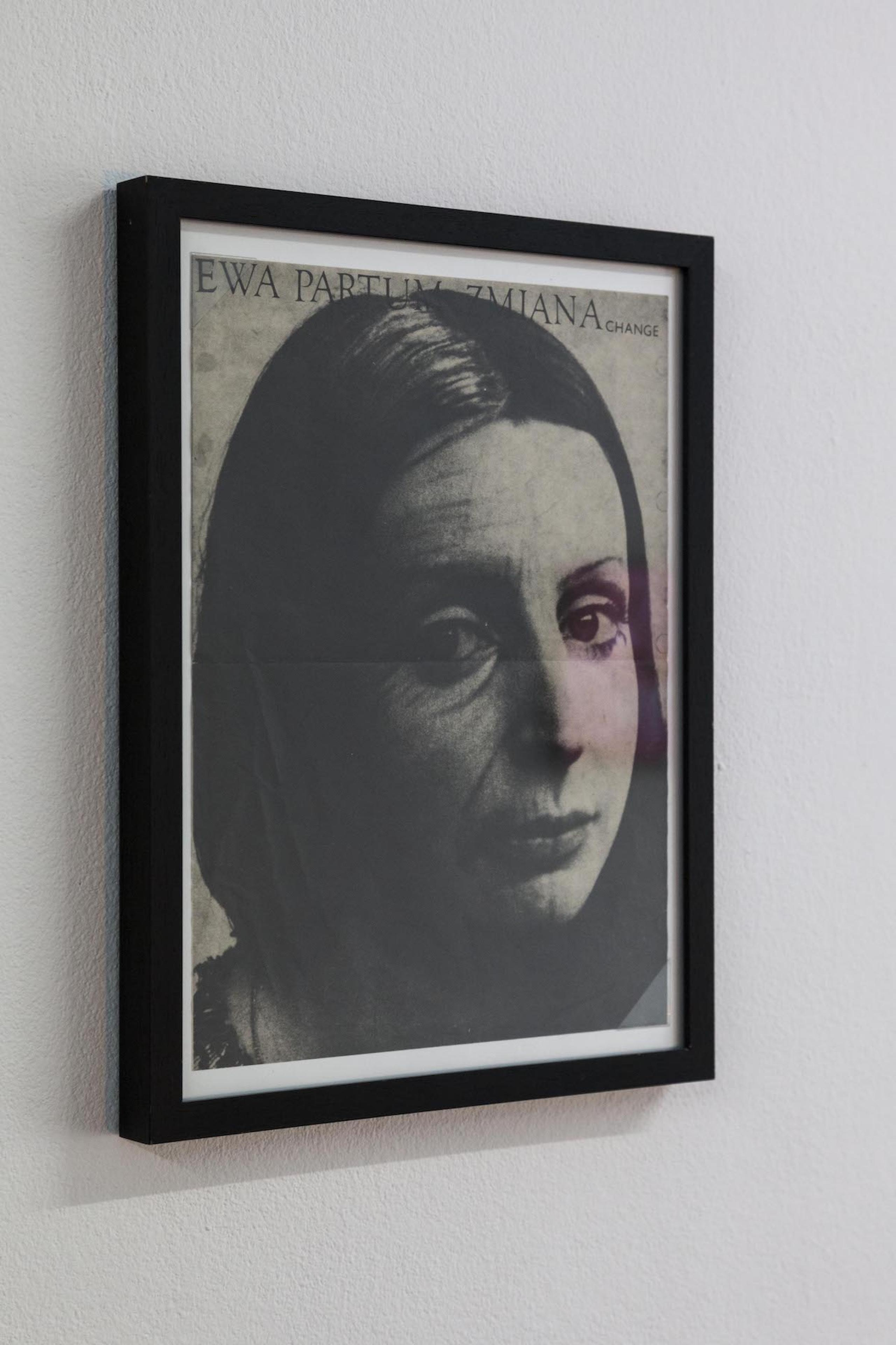 Ewa Partum Zmiana change, 1974, Offsetprint, signed on back, 36,5 x 27,5 cm, framed, Courtesy M + R Fricke, Berlin