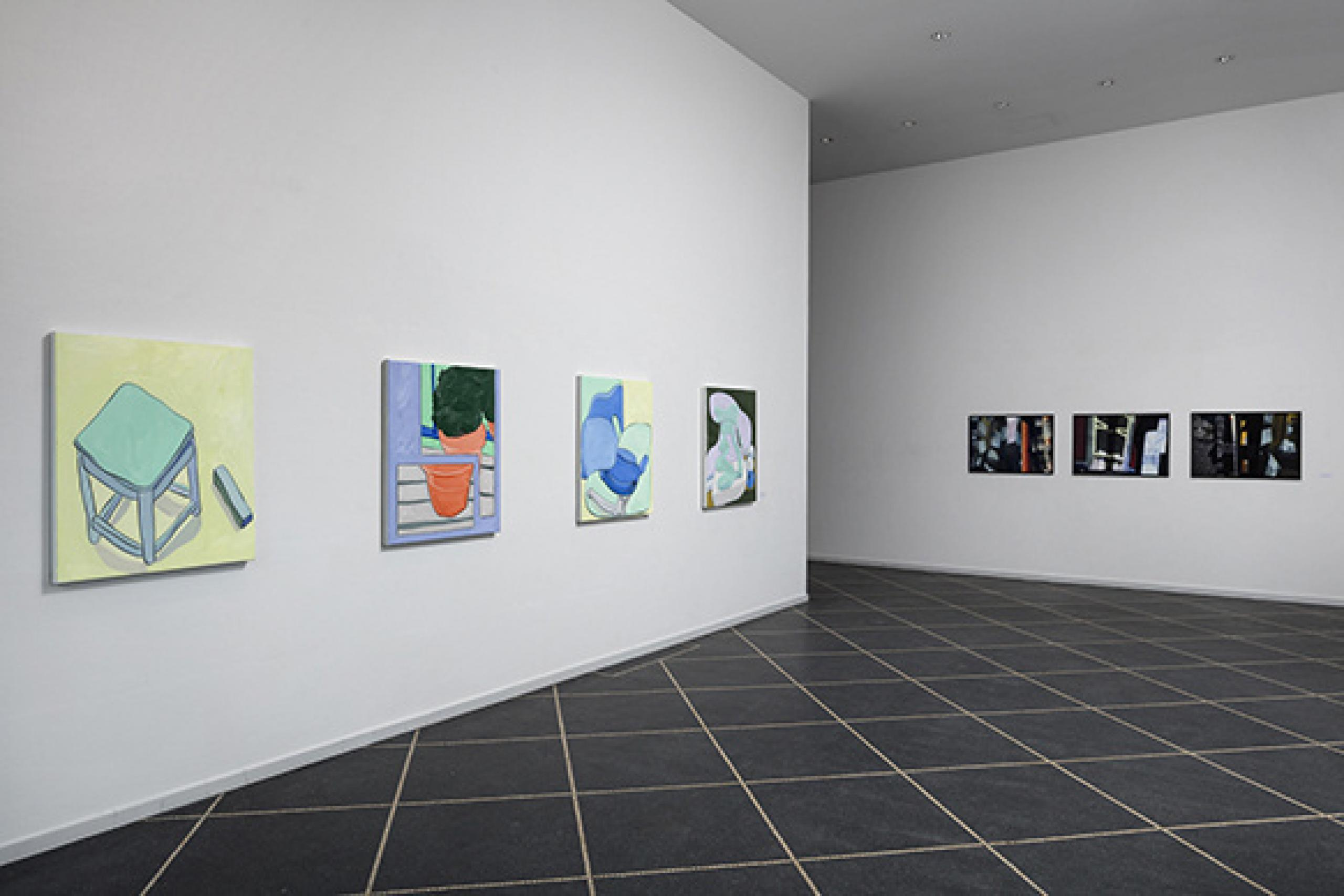 """New Works"" (2018) Exhibition view of a group show featuring Martin Erik Andersen, Stig Brøgger, Morten Buch, Jiri Georg Dokoupil, Andreas Eriksson, Olav Christopher Jenssen, Pernille With Madsen, Kehnet Nielsen, Lawrence Weiner, Troels Wörsel at Susanne Ottesen Photo: Anders Sune Berg"
