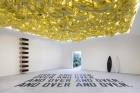 """""""The Artist is Present"""", Shanghai 2018, Exhibition View showing works by Jose Dávila, Lawrence Weiner, Reena Spauling (left to right)"""