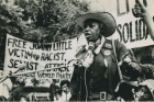 """Florynce """"Flo"""" Kennedy speaks at a protest,July 12, 1975."""