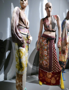Garments made of vintage scarves tied to the body, the motifs continue onto the skin in body paint, SS 1992 Photo:© Marina Faust