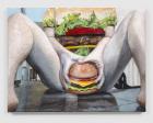 Cheeseburger Emoji Crotch , 2019 Acrylic and foam on canvas on panel, 61 x 82 x 8 cm