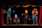 """Performance Still of Bjarne Melgaard's Kathy Acker inspiredpuppet show as part of """"Kathy Acker: Who Wants to Be Human All the Time"""" atin the Performance Space New York"""