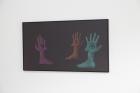 Lukas Posch Die Nerven (guests), 2017,Acrylicon glass, aluminium, wood, 46 x 82 cm