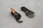 Nicolas Lamás, Before disappearing, 2018, Footprints, burned rubber, melted metal, mineral, variable dimensions, Copyright the artist and Sabot, Photo Alexandra Colmenares, courtesy Sabot & the artist