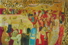 Rokni Haerizadeh, left panel of Typical Iranian Wedding (2008) diptych, oil on canvas, 200 x 300 cm