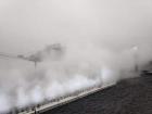 Ryuichi Sakamoto, Shiro Takatani, LIFE-WELL, 2013, installation, fog, 5-channel audio, LED light, motorized mirror, camera. Original Development: Yamaguchi Center for Arts and Media.