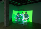 """Sandra Mujinga, Catching Up , 2017.Installation view: """"Skip Zone"""", Magenta Plains, New York, 2017."""