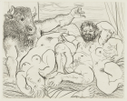 Bacchanal with Minotaur from the Vollard Suite , Pablo Picasso, 1933, published 1939,34.2 x 45 cm, etching, Museum of Modern Art