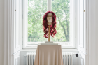 Soshiro Matsubara, Portrait of Alma Mahler , 2020 (detail), glazed ceramics, artificial hair, wood, fabric, 153×30×30cm
