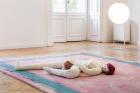 Soshiro Matsubara, A Tale of Romance , 2020 (detail), carpet, glazed ceramics, artificial hair, fabric, wood, light sphere, Carpet: 350×200 cm, Sculpture ca. 20×130×90 cm, Lamp ø 28