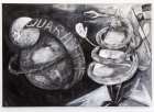 Quarantine Zone, 2016,Gesso and charcoal on canvas, 240 x 166 cm